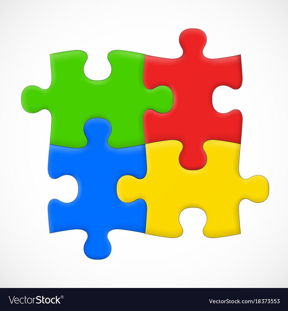 Four piece puzzle solution concept
