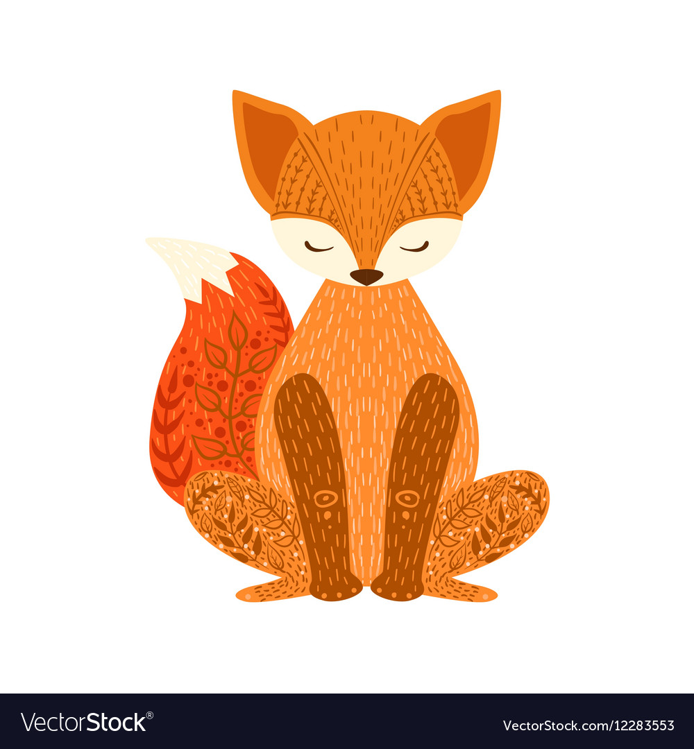 Fox Relaxed Cartoon Wild Animal With Closed Eyes