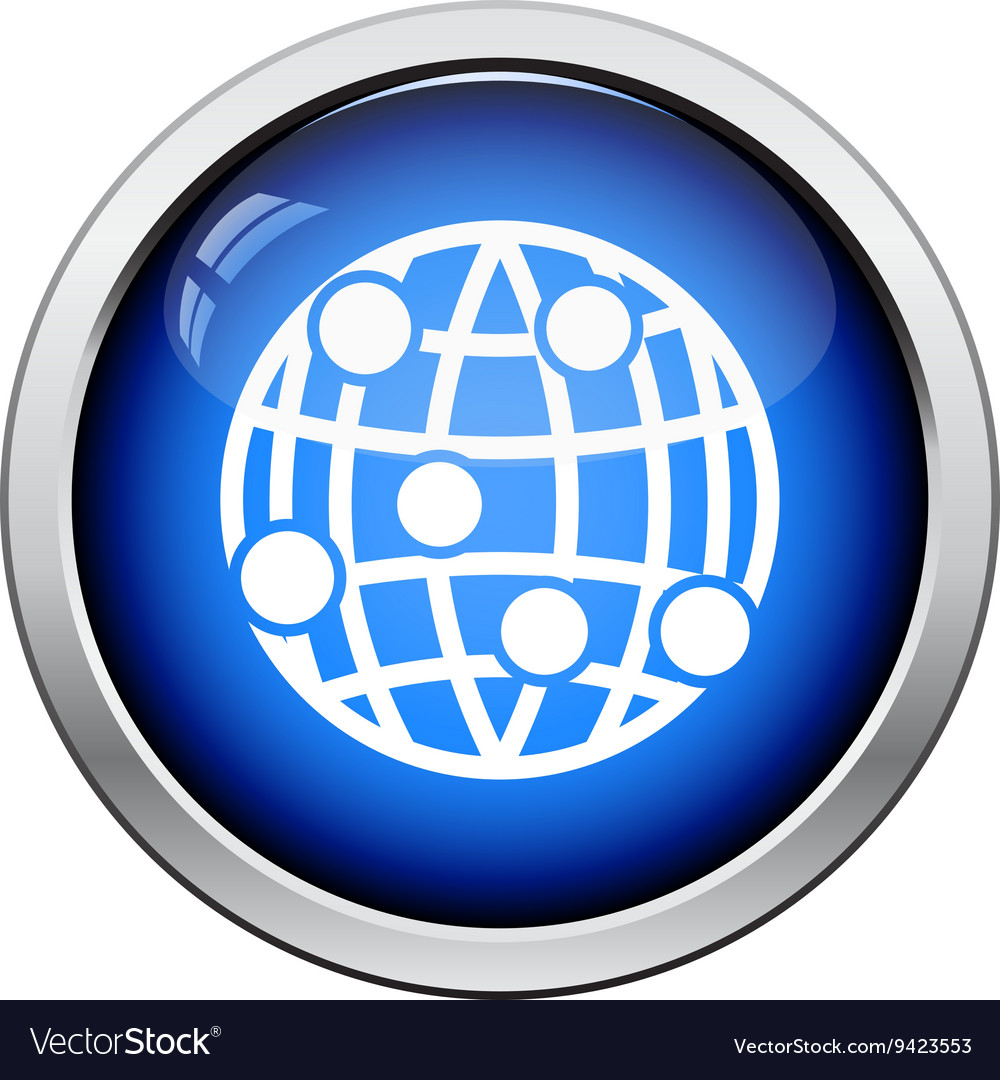 Globe connection point icon vector image on VectorStock