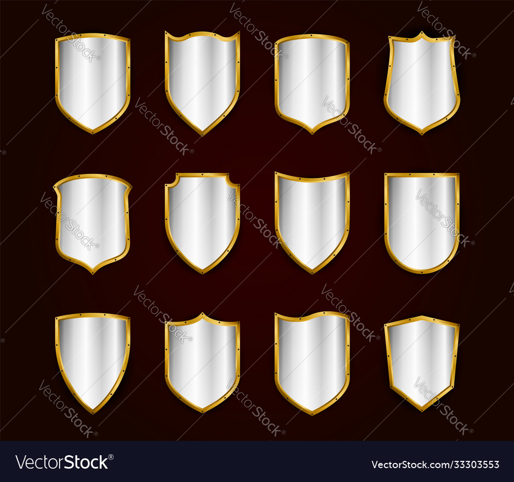 Golden realistic shields icon set protection