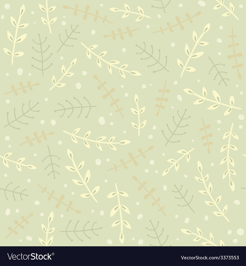 Green branches seamless pattern