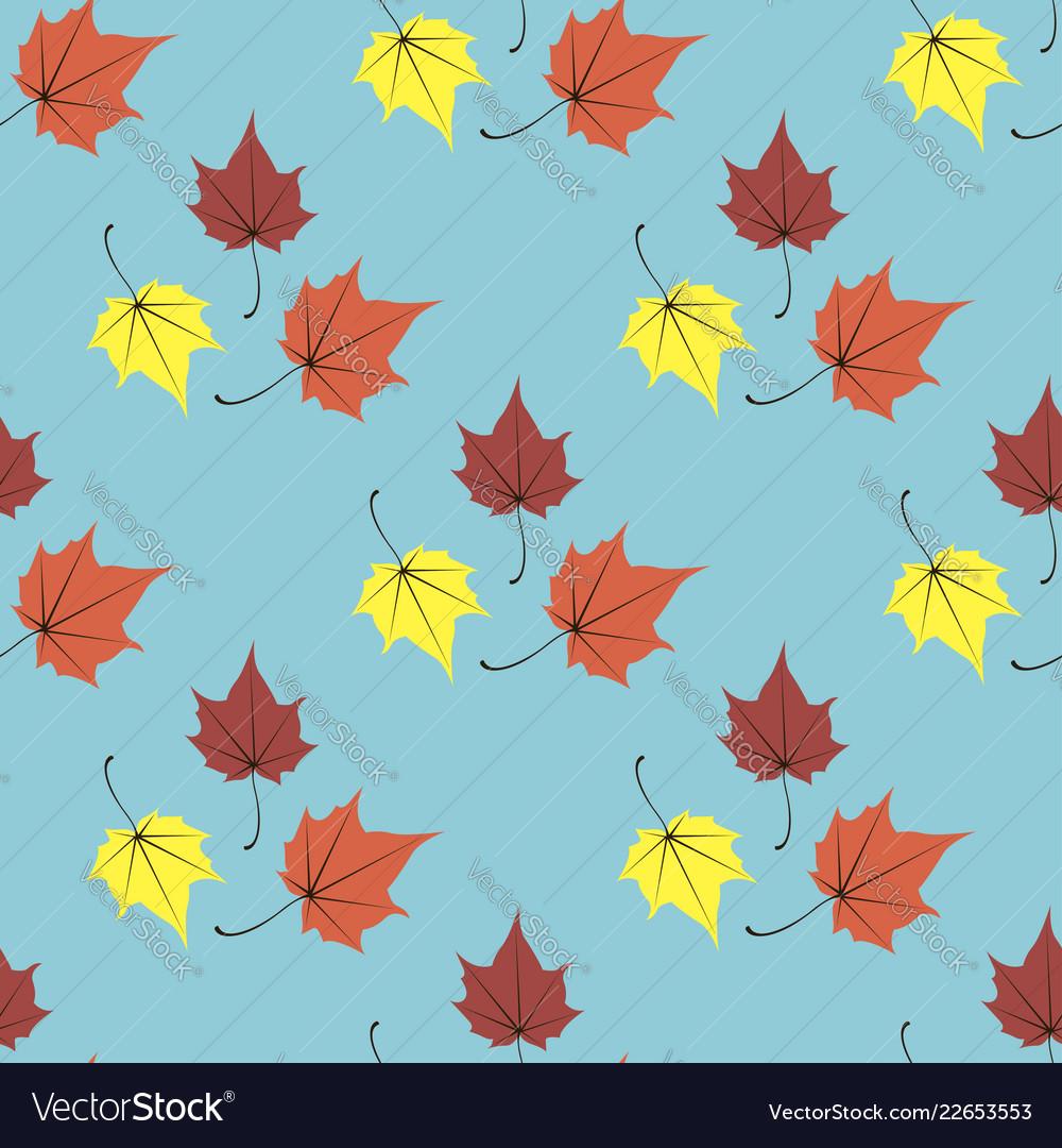 Maple leaves seamless blue orange art