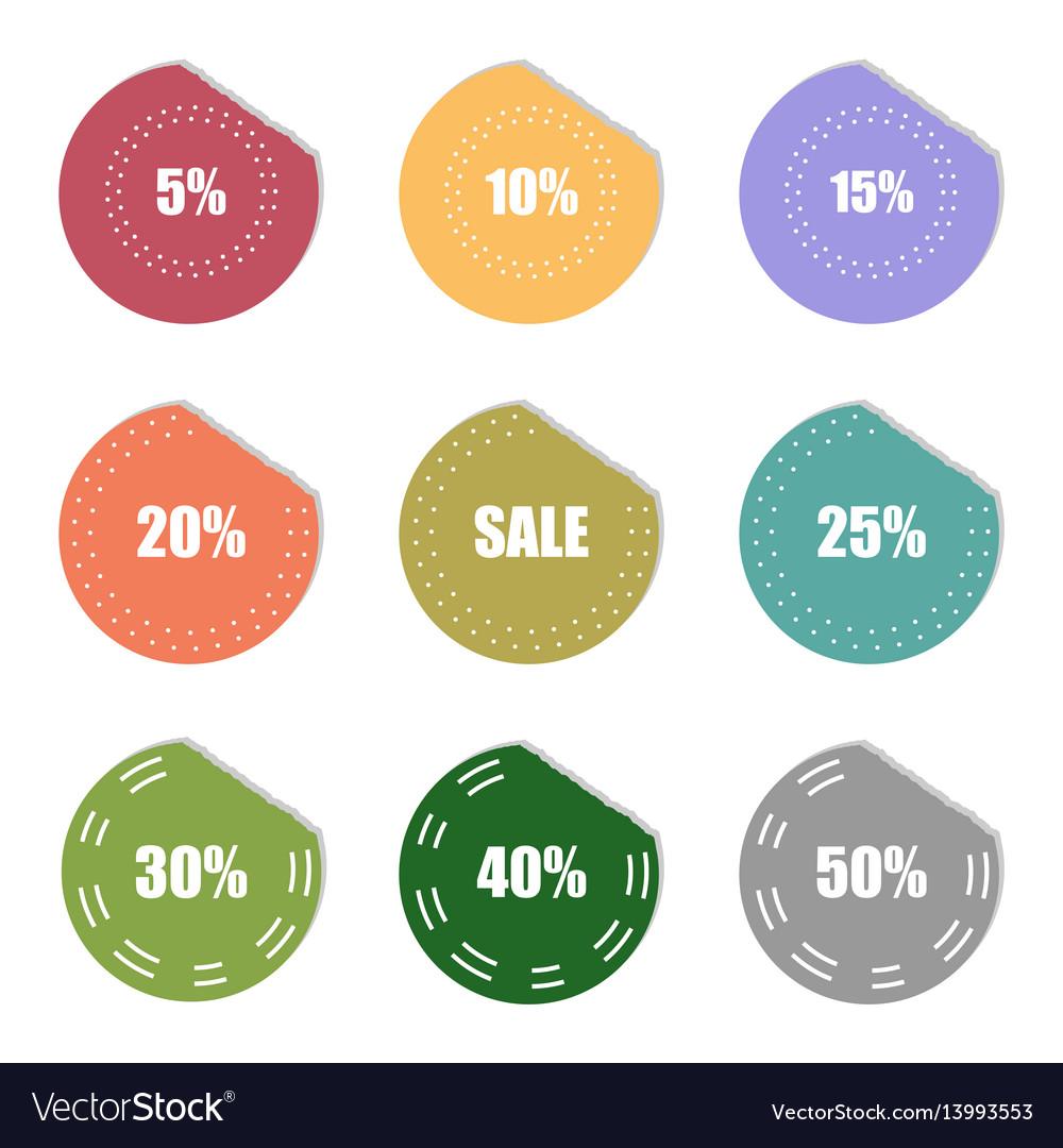 Sale and percentage tear sticker label set