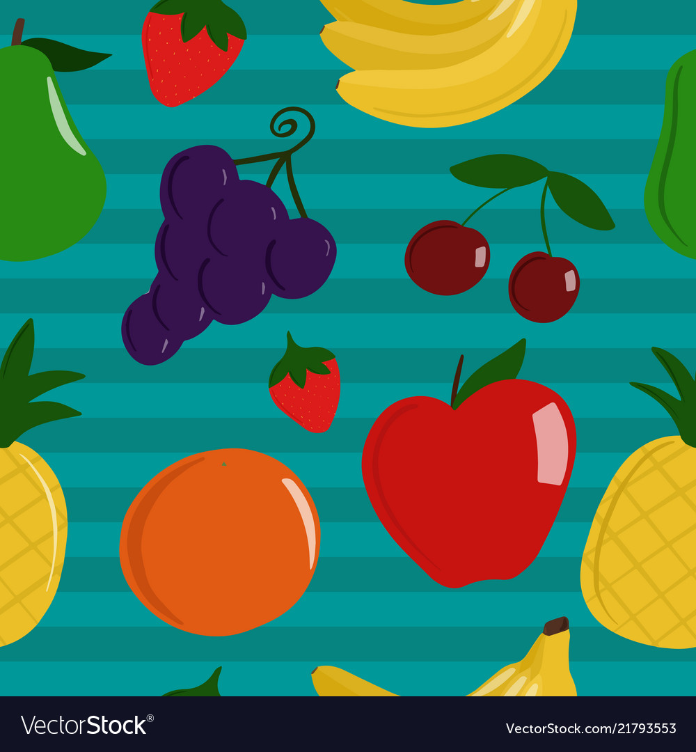 Seamless pattern of healthy fruit
