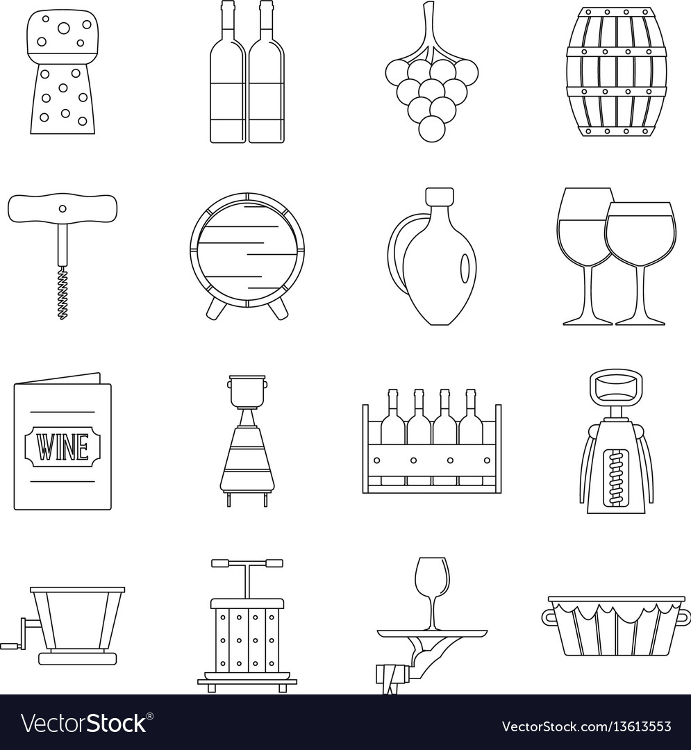 Shopping cart icons set outline style