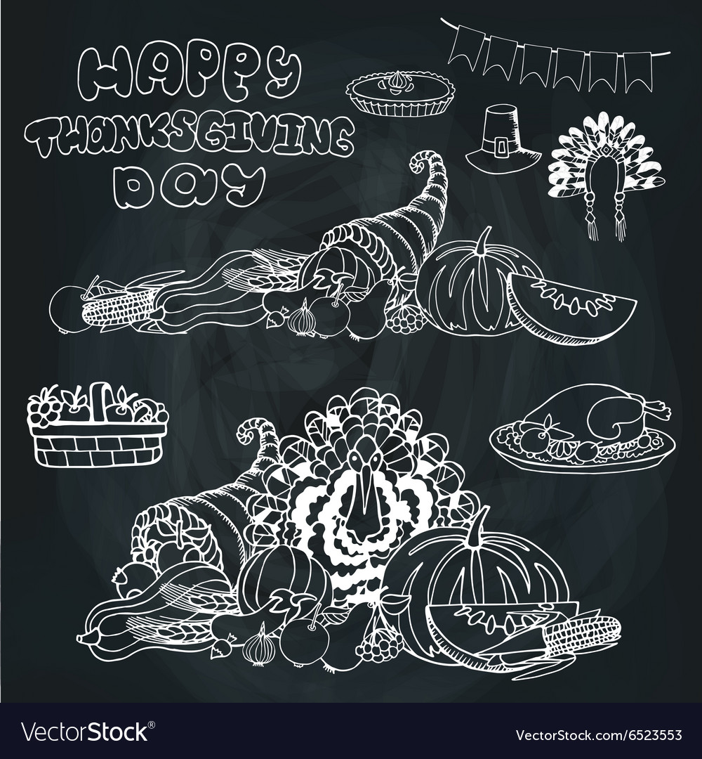 Thanksgiving dayDoodle harvestholiday set vector image