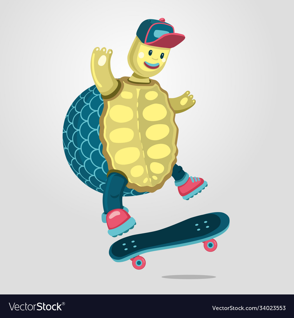 Turtle on a skateboard funny cartoon style