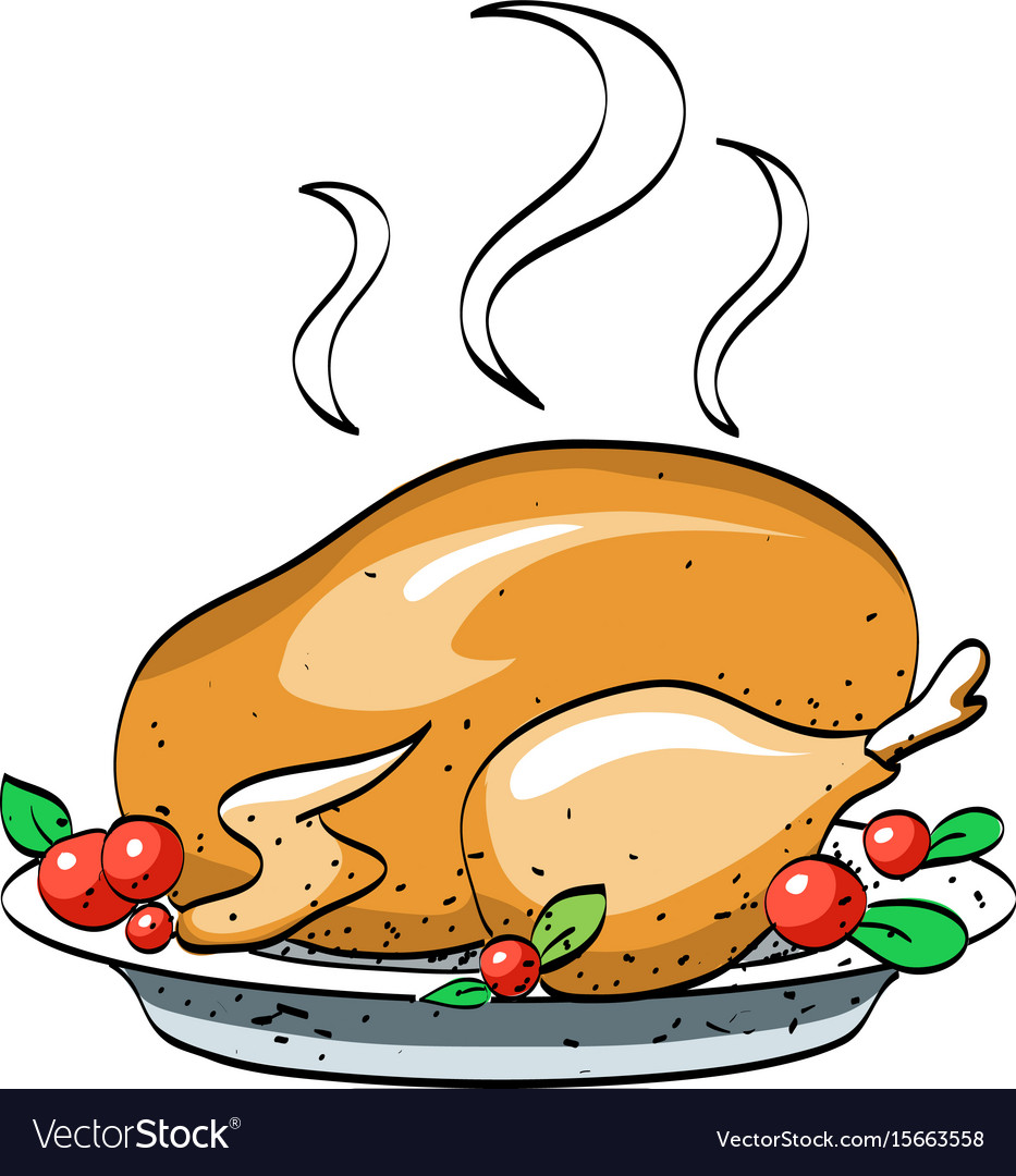 Cartoon image of cooked turkey Royalty Free Vector Image