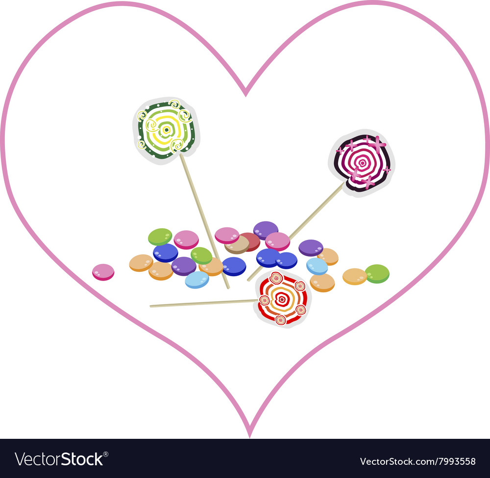 Chocolates and Lollipops in Lovely Heart Shape