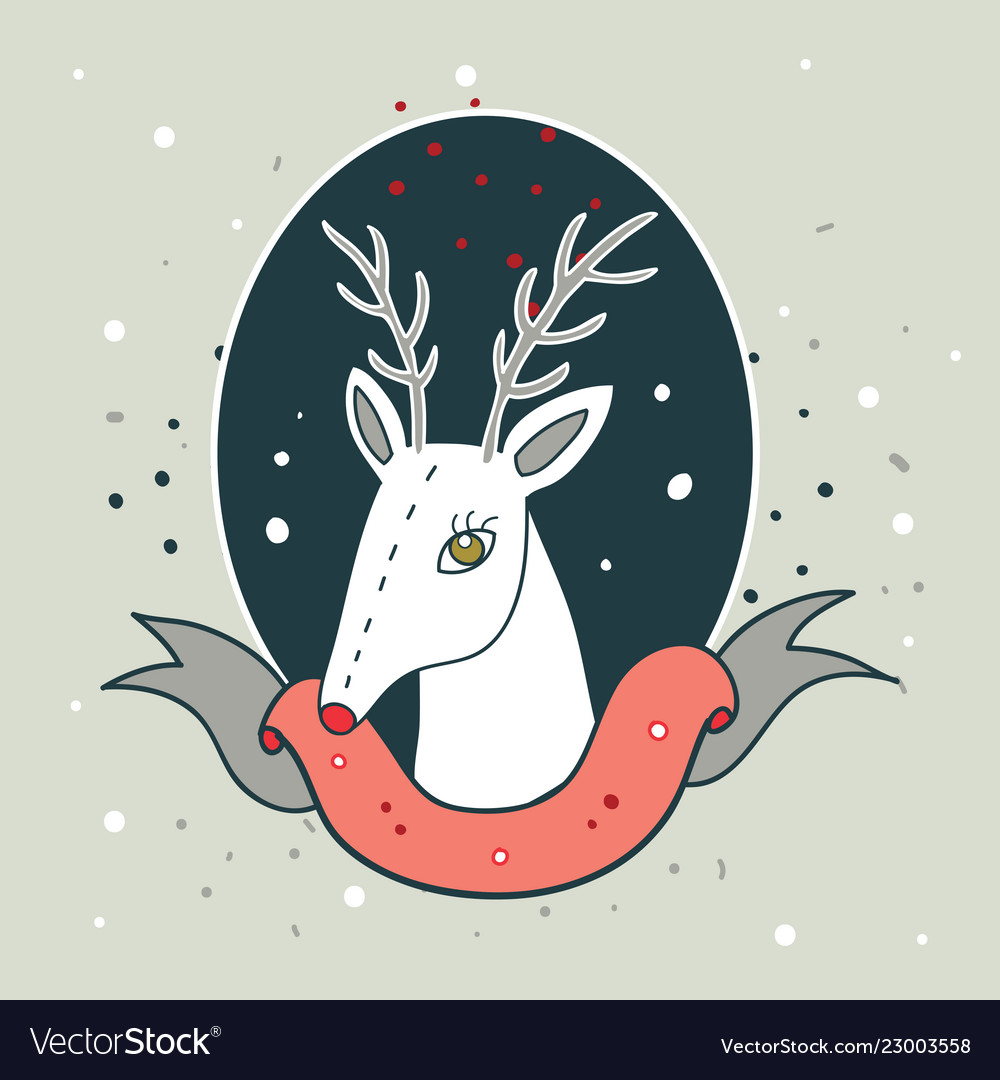 Christmas deer new year holiday greeting card