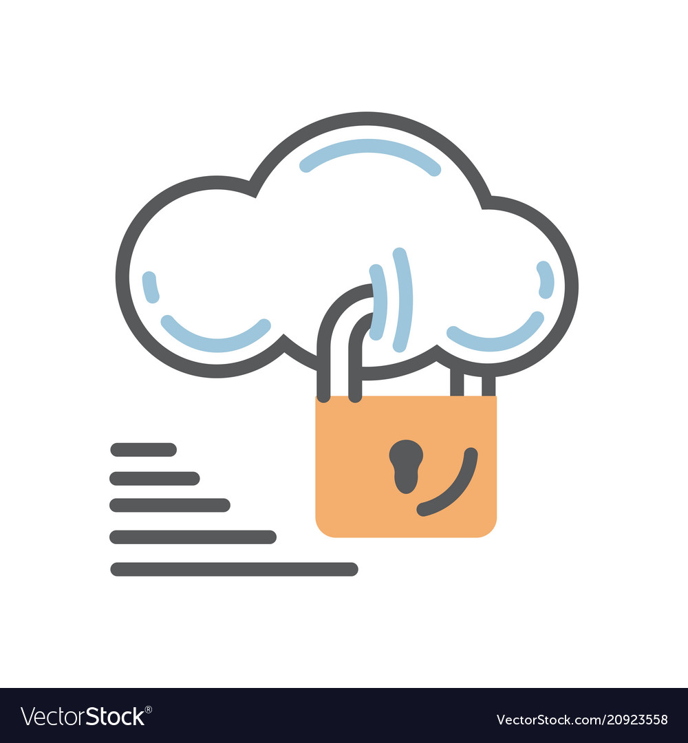 Cloud security icon with lock vector image
