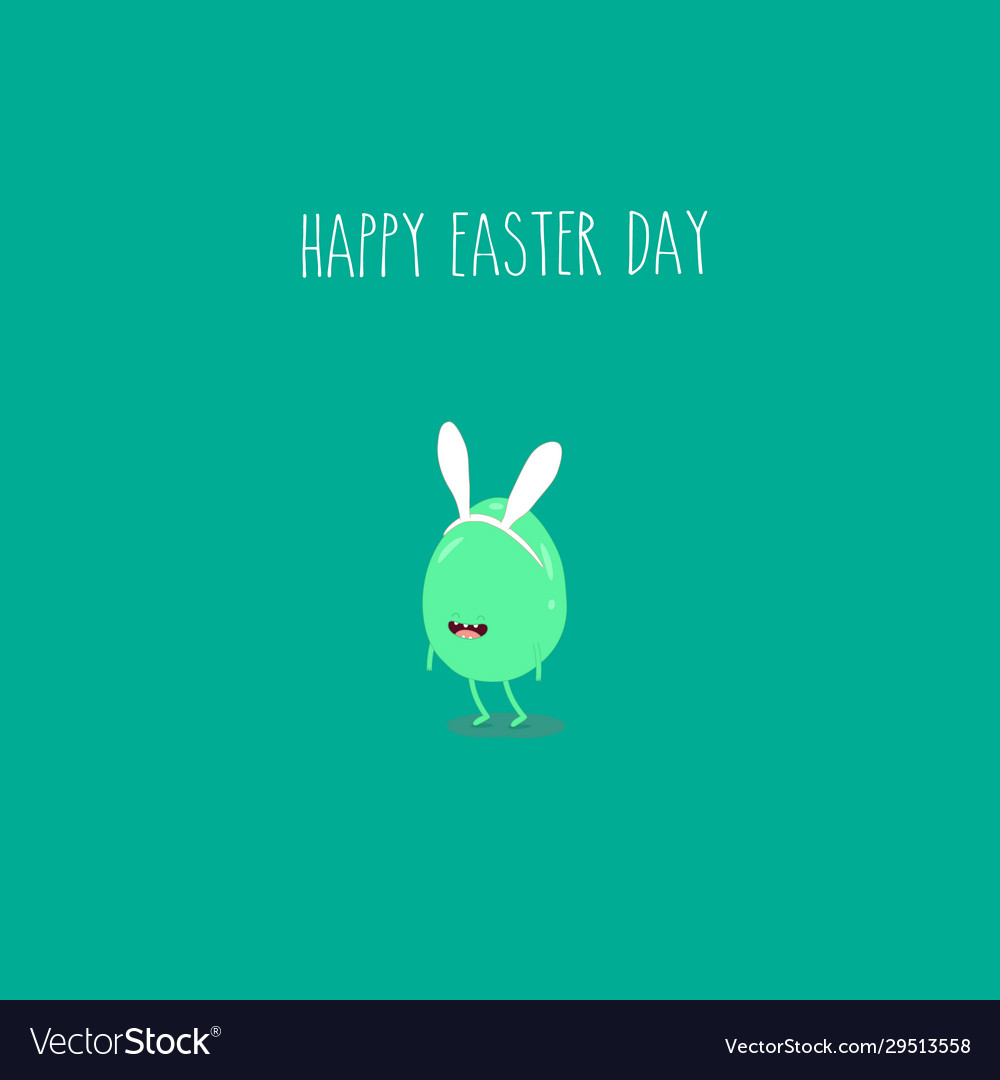 Easter egg funny and green for happy easter card