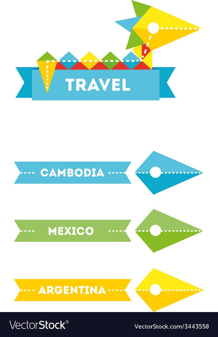 Flat bird travel company logo with identity vector image