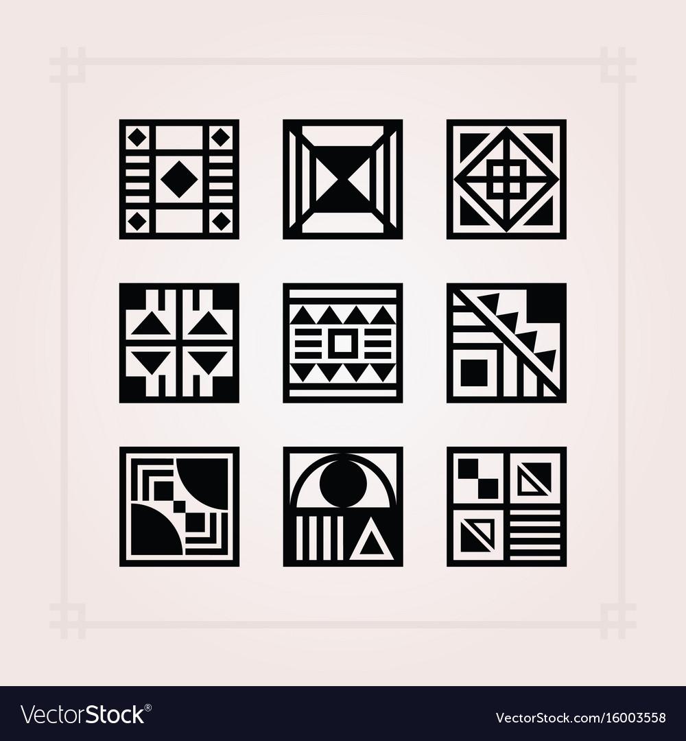 Geometrical black square shape patterns tiles iset