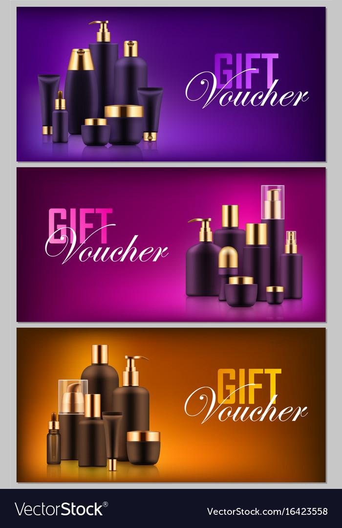 Gift cosmetic bottle voucher vector image