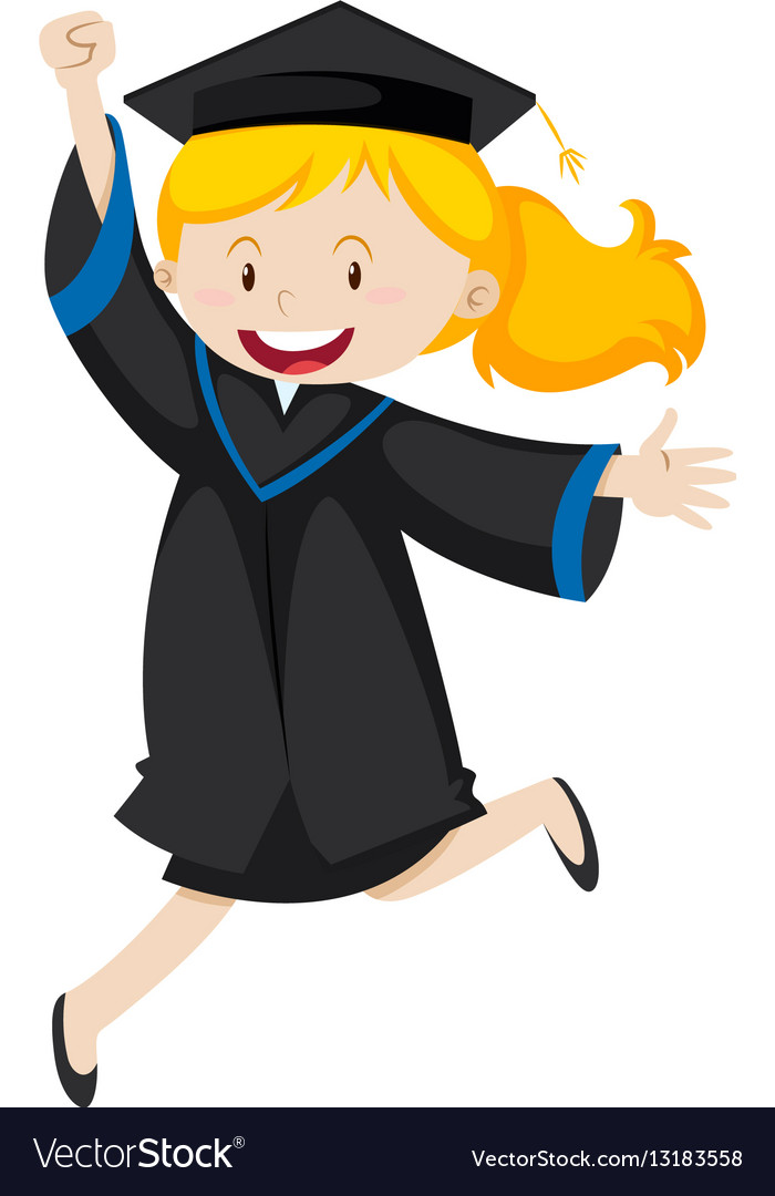 Girl in black graduation gown Royalty Free Vector Image