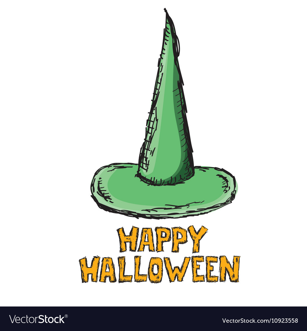 Green witch hat isolated on white vector image on VectorStock