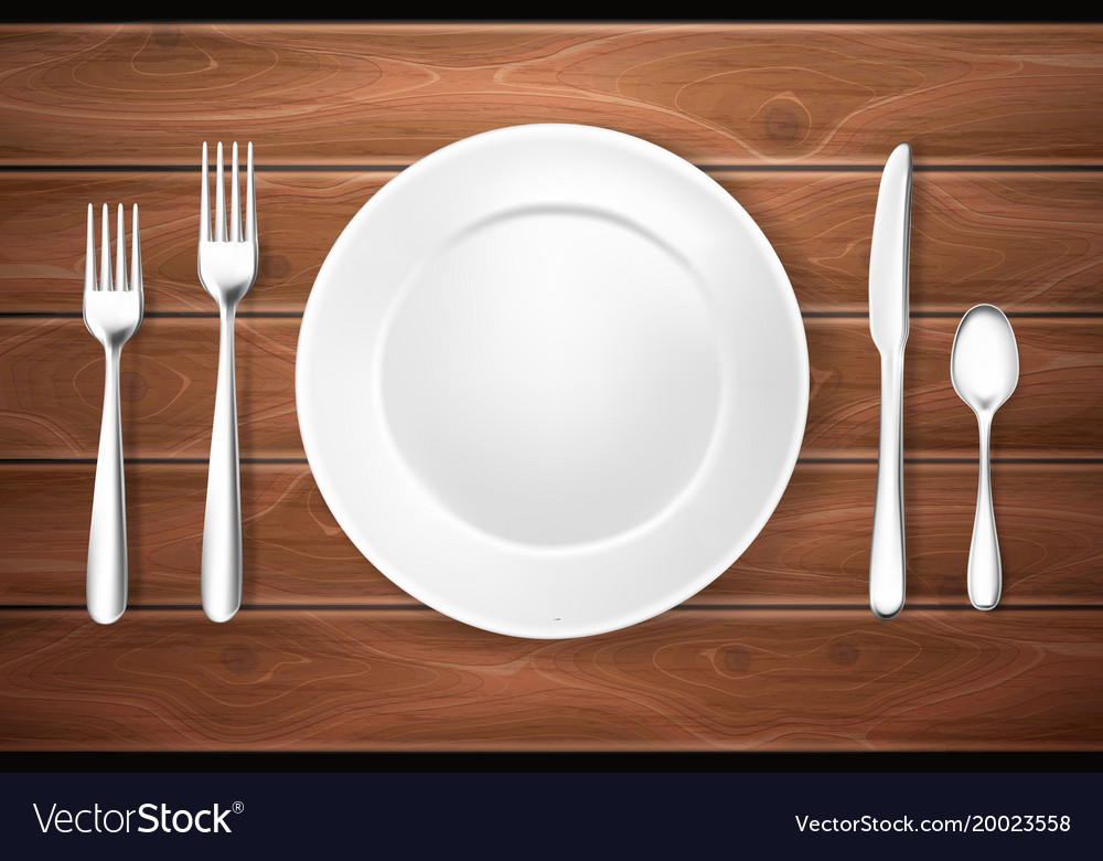 Realistic table setting arrangement wooden texture vector image & Realistic table setting arrangement wooden texture