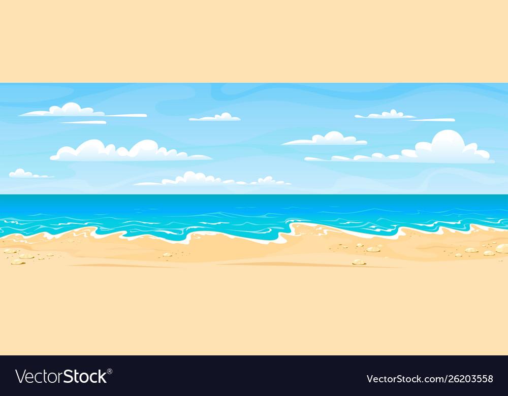 Sea beach landscape cartoon summer sunny day