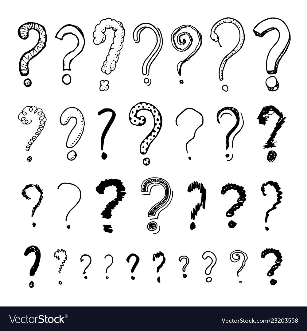 Set of question mark doodle style collection of