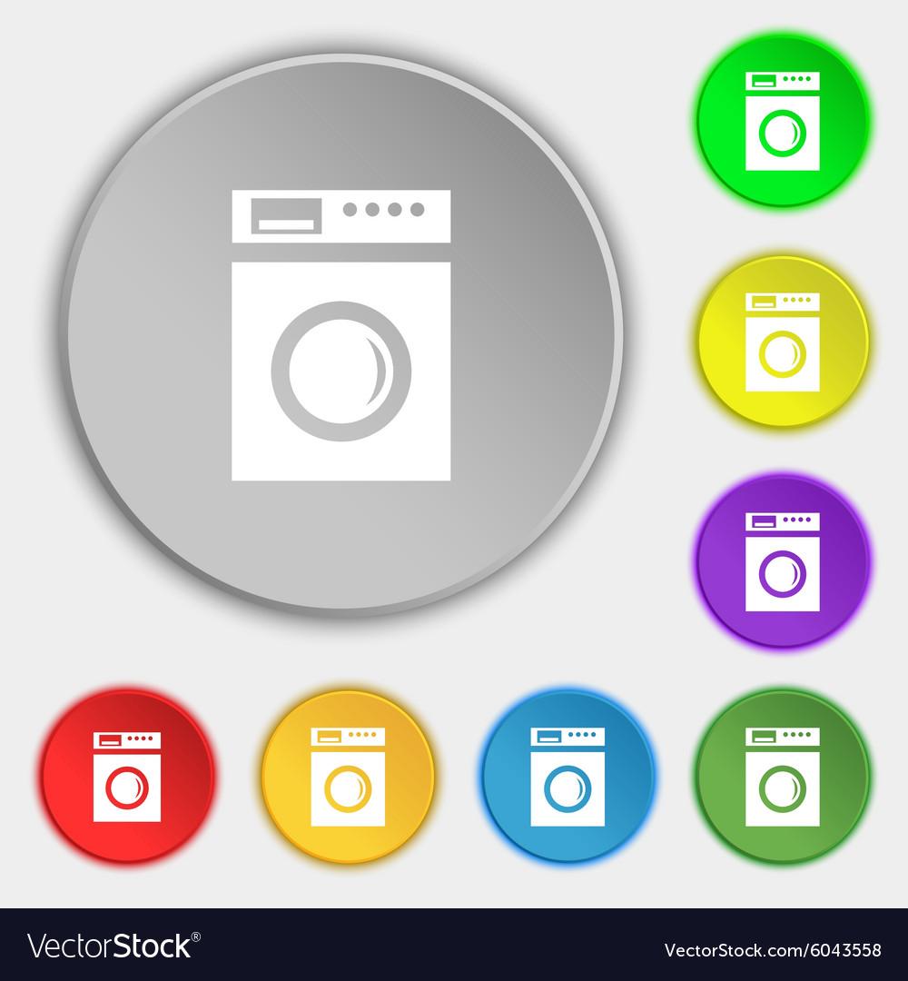 Washing Machine Icon Sign Symbols On Eight Flat Vector Image