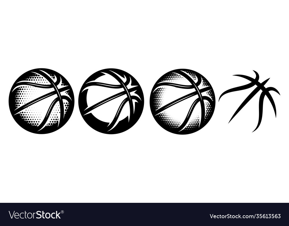 A set basketballs with different designs