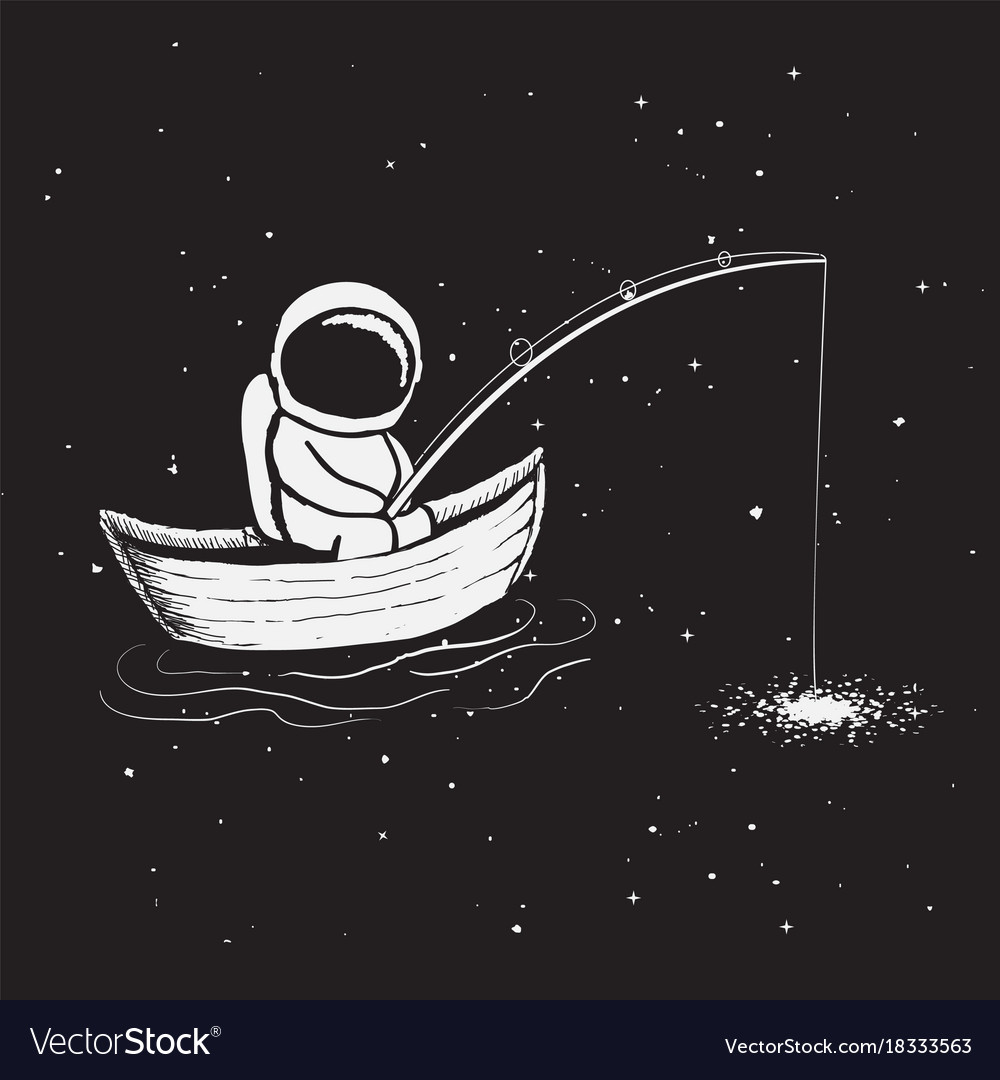 Astronaut sits in boat and catches a stars