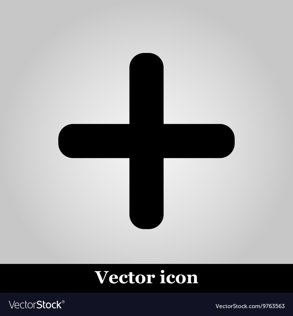Cross icon on grey background
