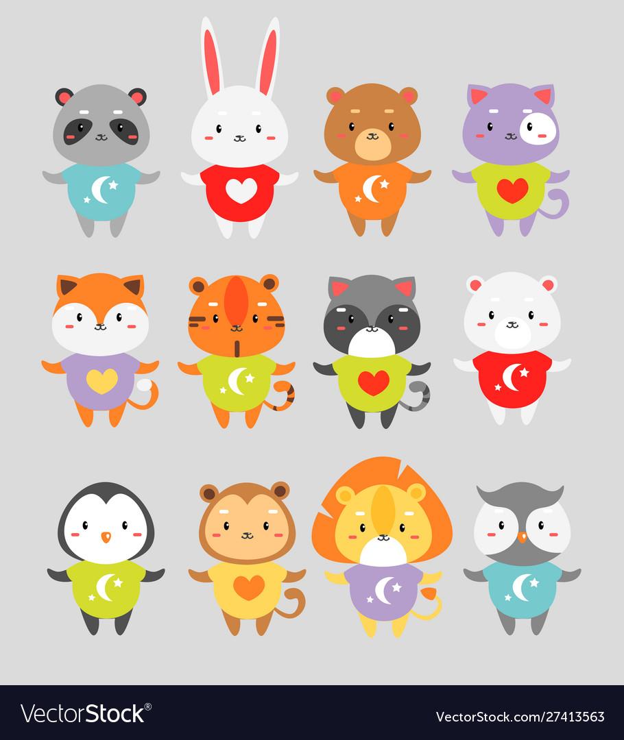 Cute animals flat set little