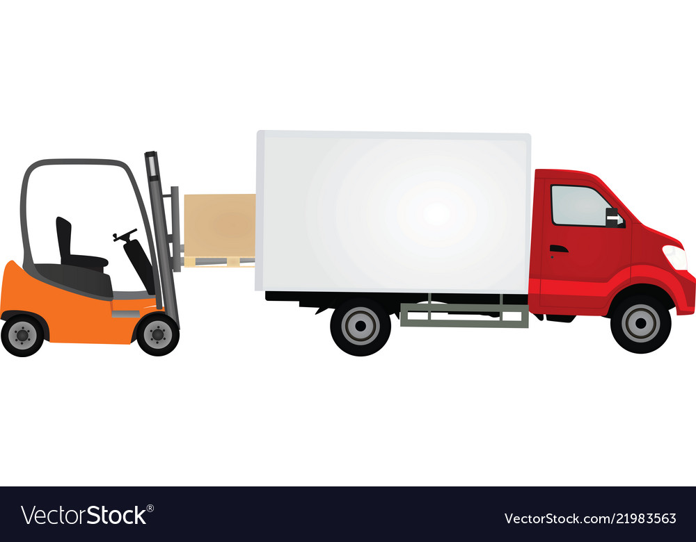 Forklift loading container to delivery truck