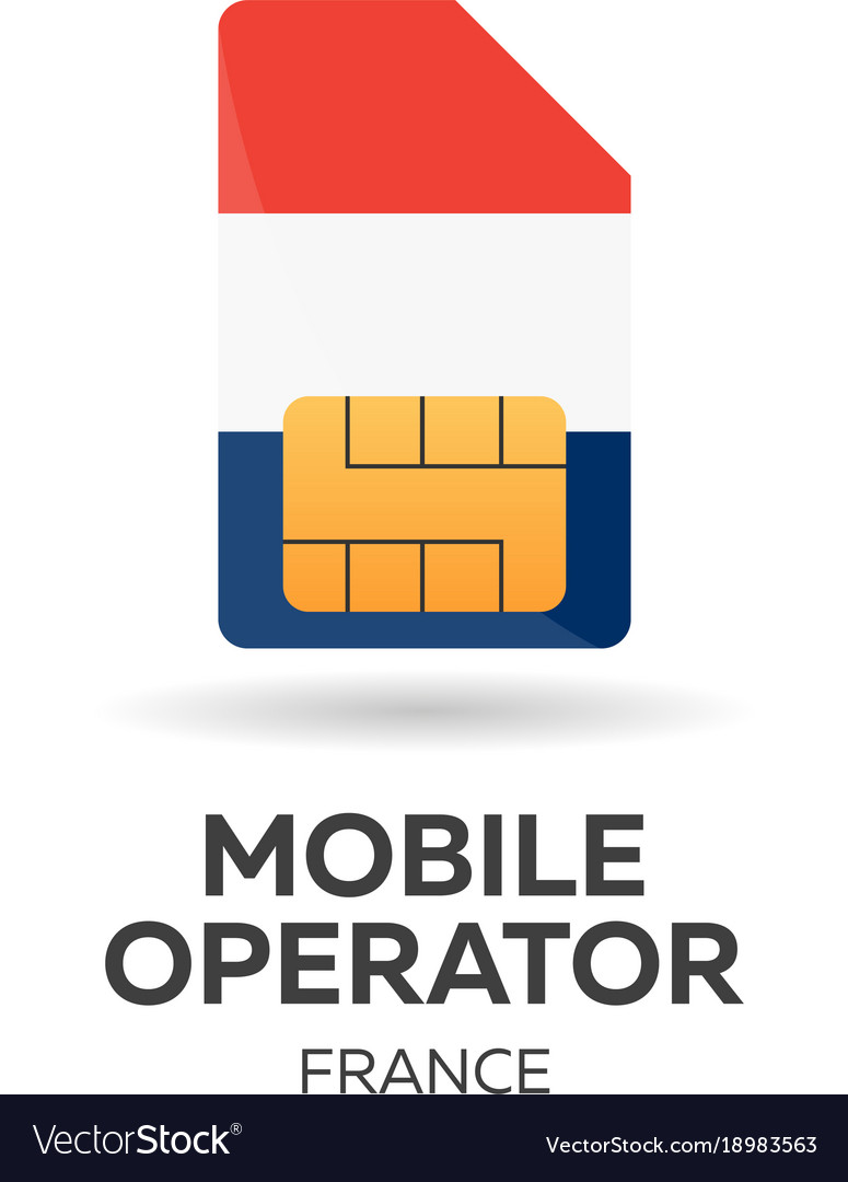 France mobile operator sim card with flag