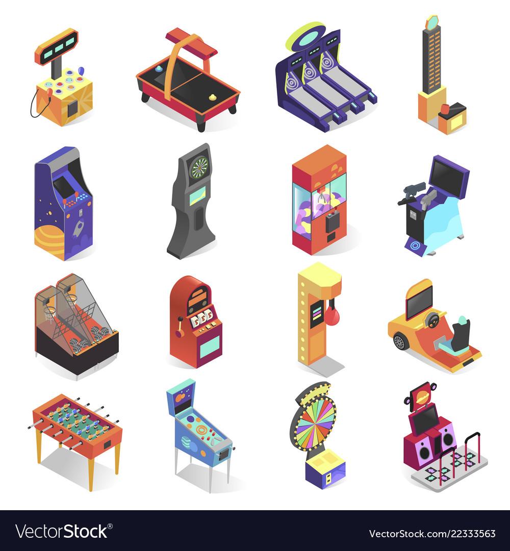 Game machine isometric icon set electronic