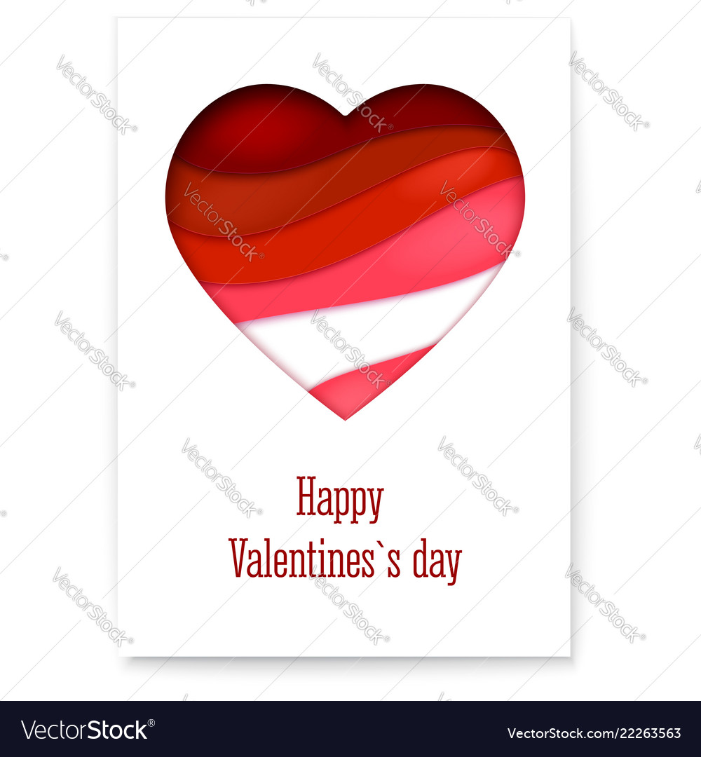 Red heart from paper with cut out layers simple vector