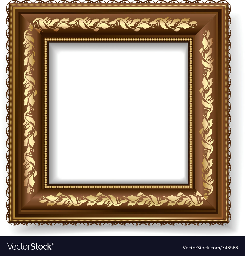 Retro frame with gold leaf Royalty Free Vector Image