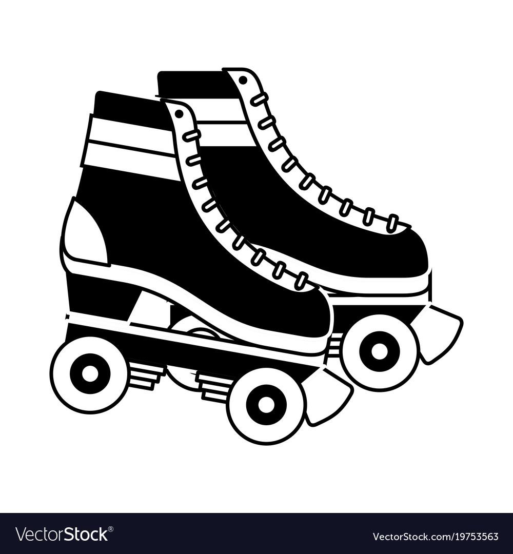 Retro roller skates wheels trendy vintage
