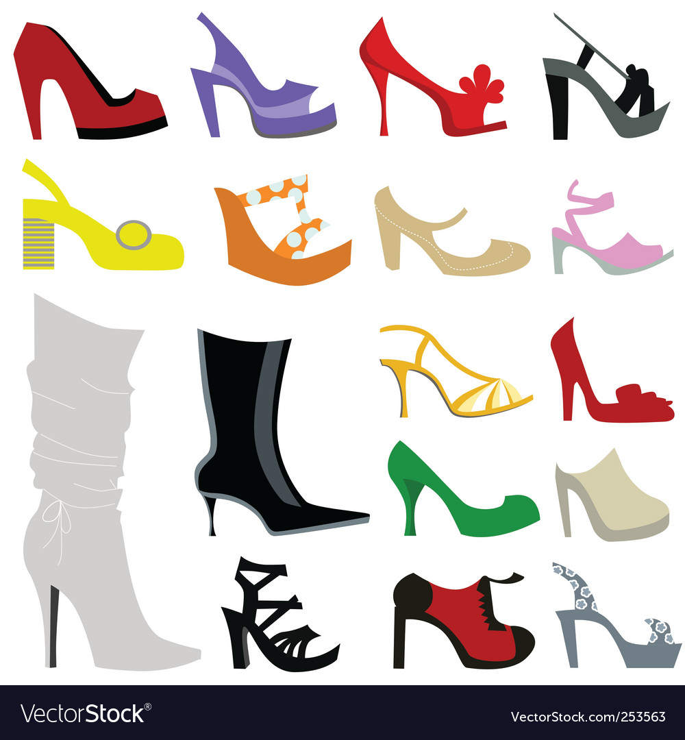 Set of women shoes vector image
