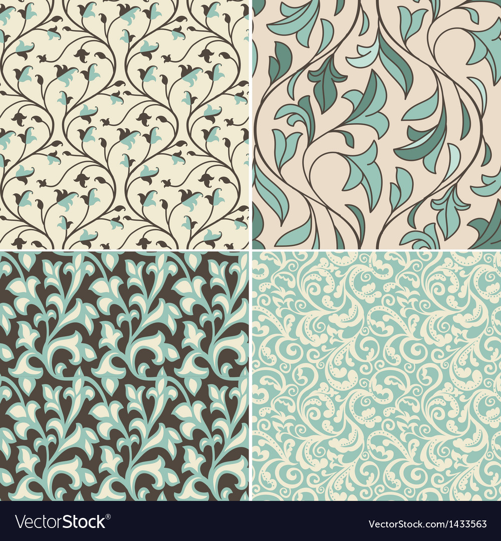 Set with vintage seamless patterns