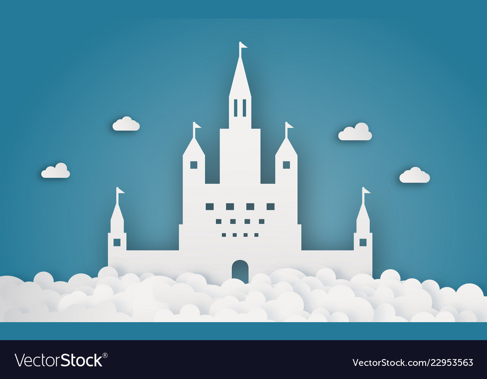 Sky castle on cloud papercraft abstract and