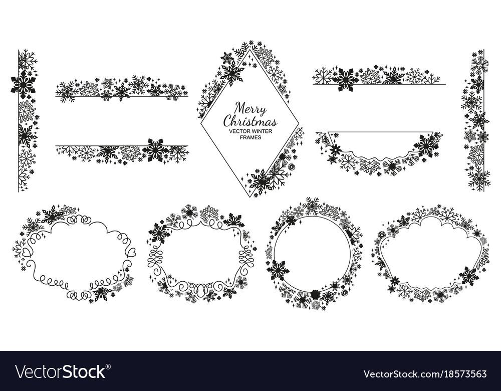 Snowflake frame set black-white xmas collection Vector Image
