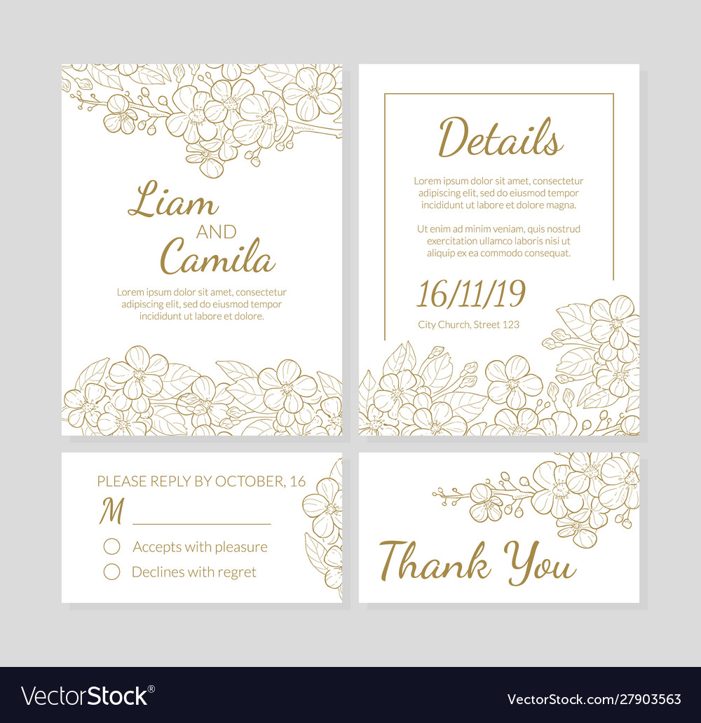 Wedding invitation template set thank you card Vector Image