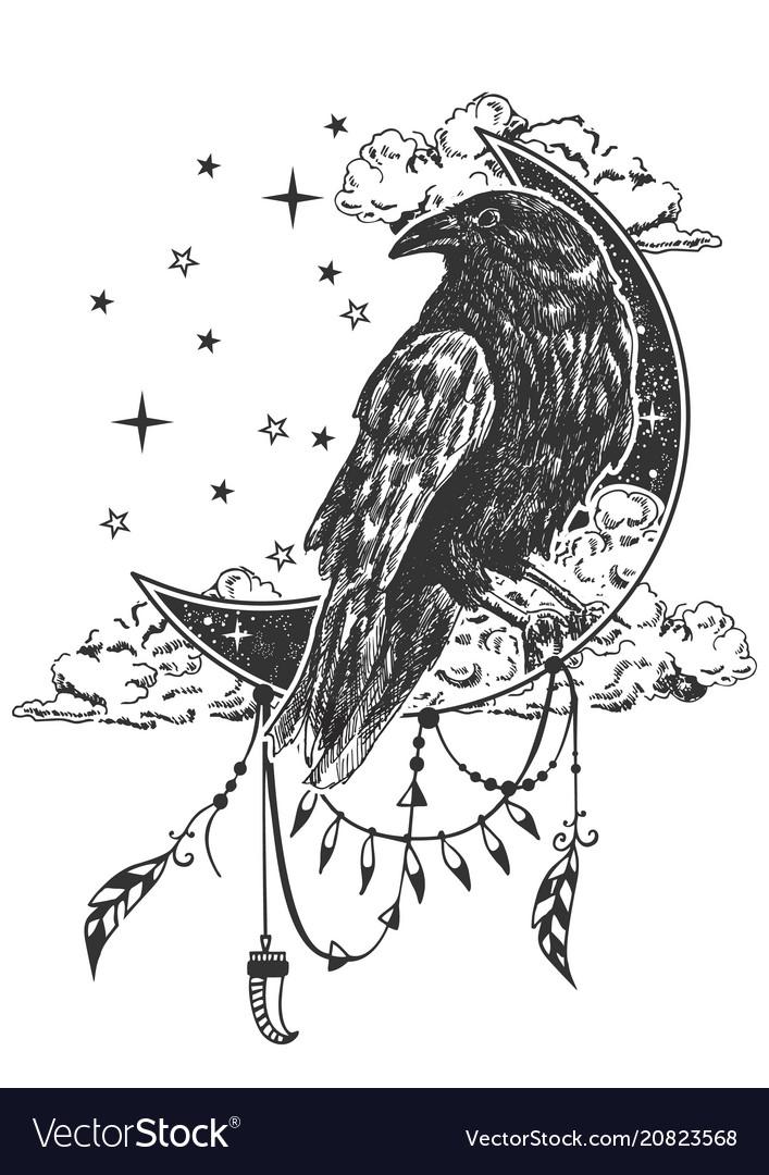 Boho Raven Tattoo Or T Shirt Print Design