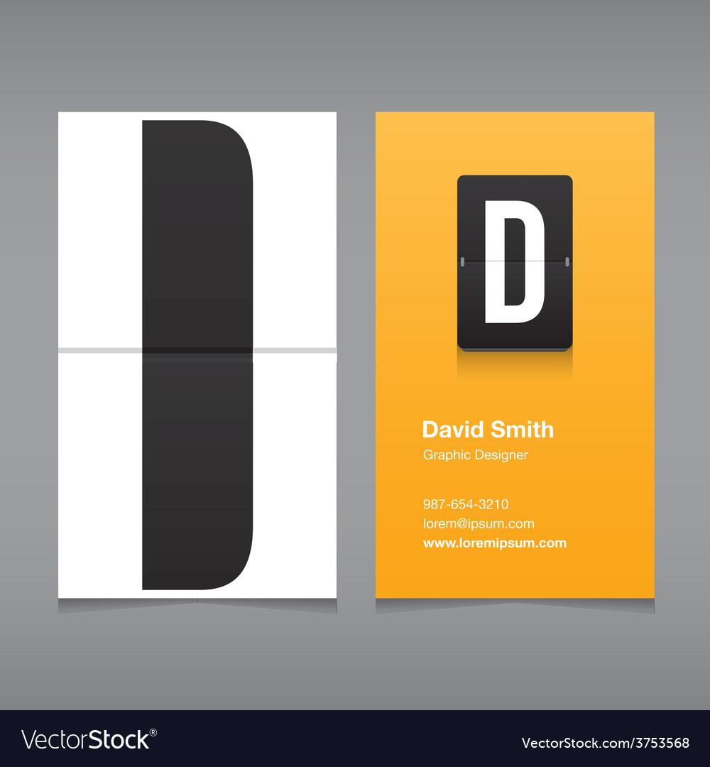 Business card letter D