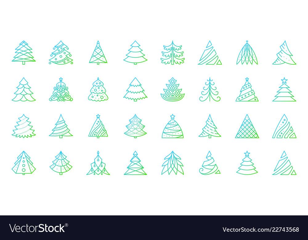 Christmas tree simple color line icons set