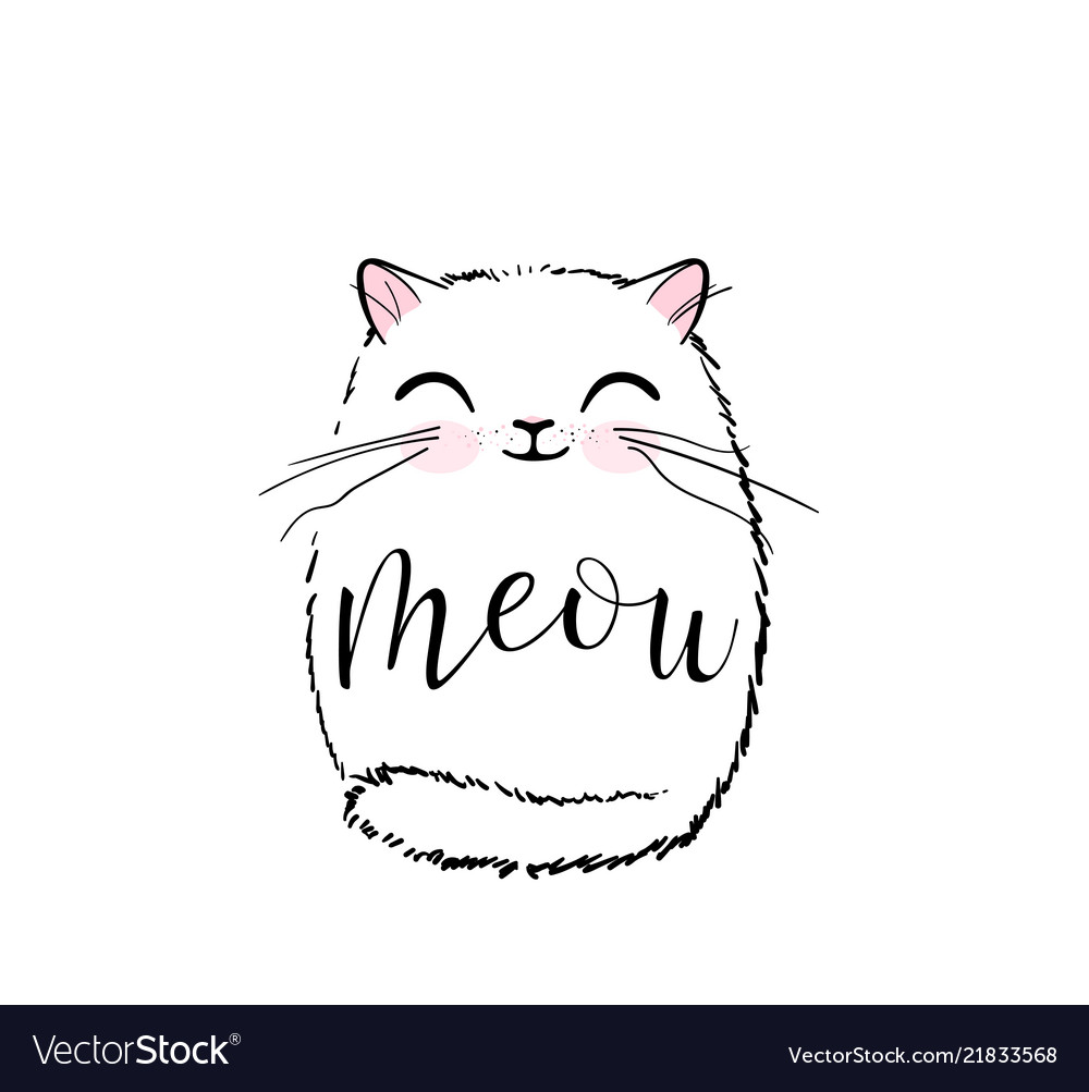 Cute cat print design meow lettering text
