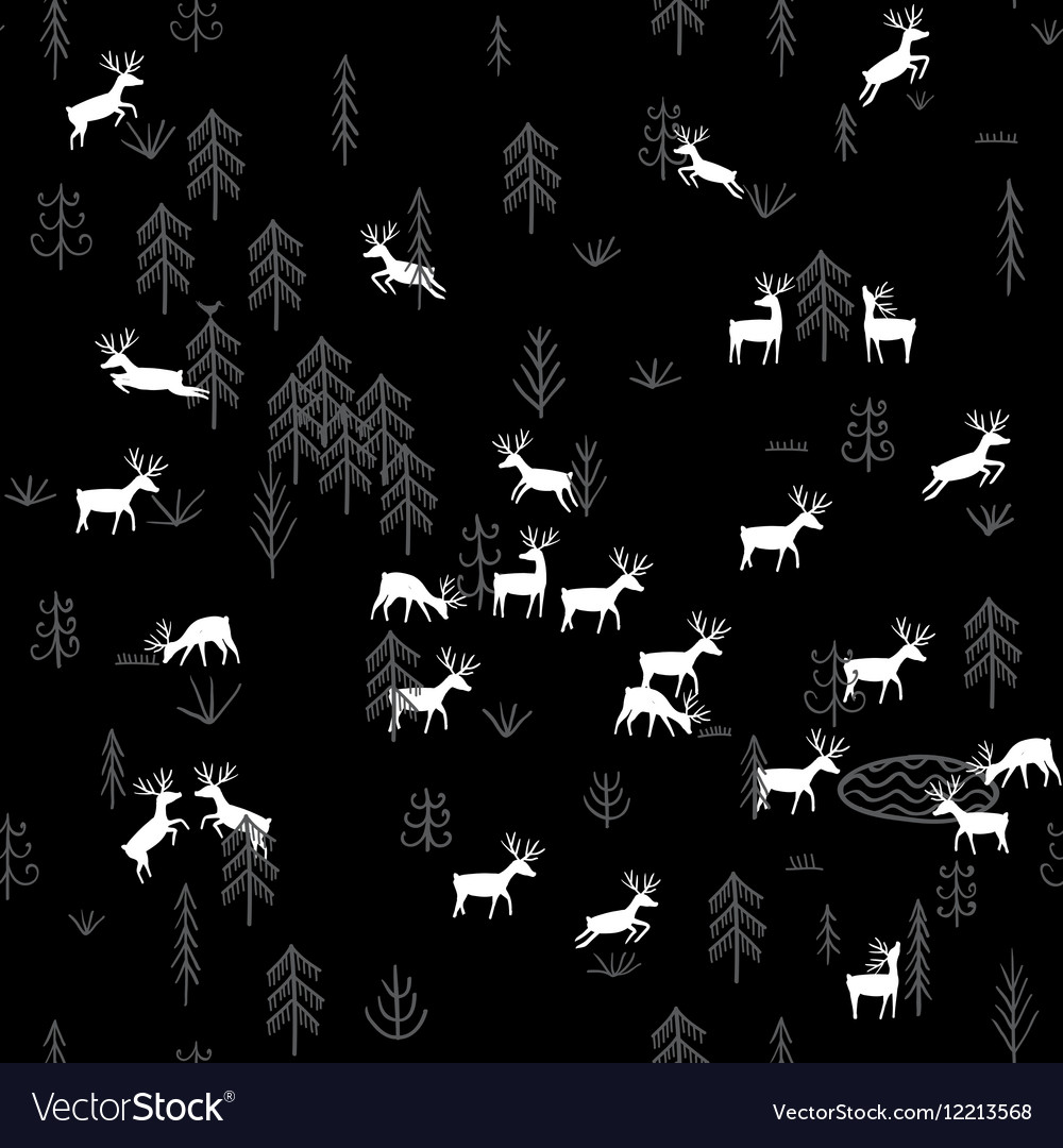 Forest life deers seamless pattern black