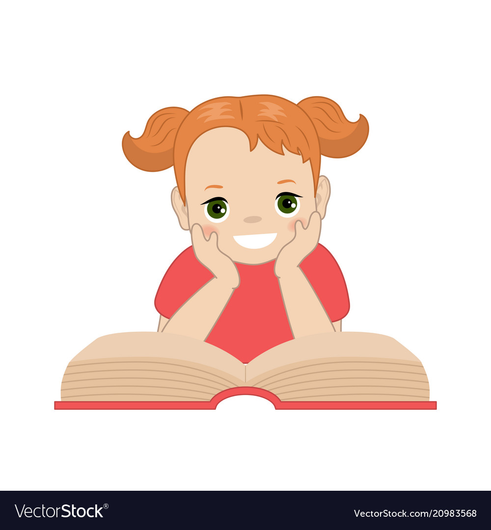 girl reading book royalty free vector image vectorstock vectorstock