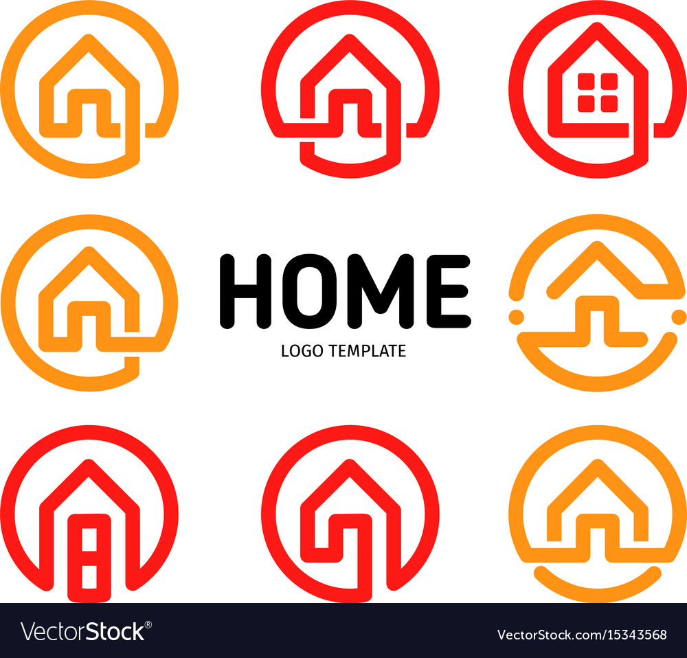 Home logos outline style collection real