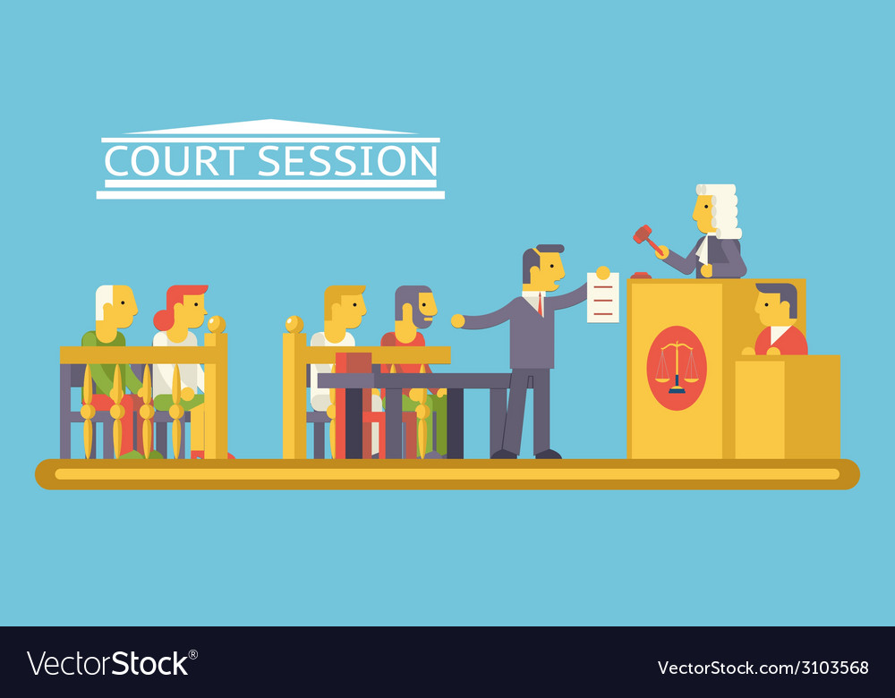 Law Court Justice Scene with Characters Defendant