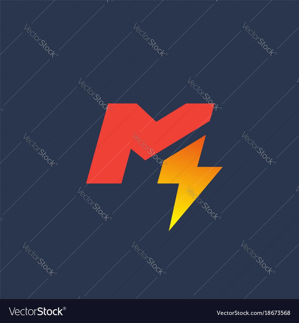 letter m lightning logo icon design template vector image