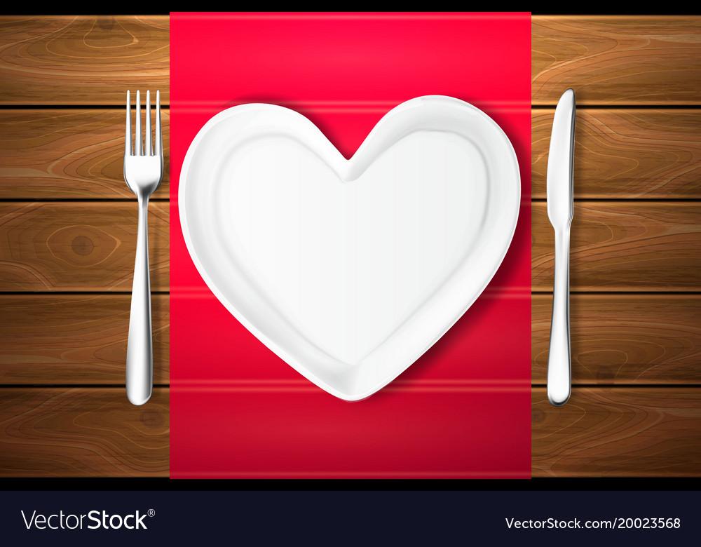 Plate shape heart knife fork wood texture